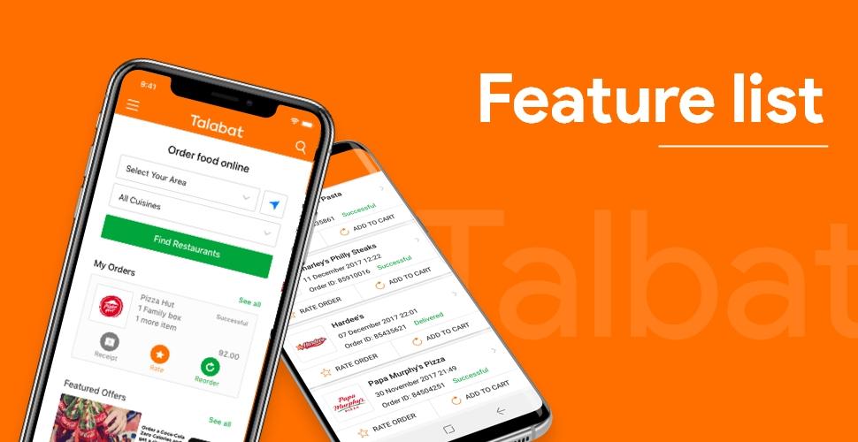 Feature list to Make an App like Talabat